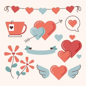 Vintage valentinstag element sammlung