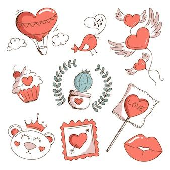 Vintage valentinstag elementsatz