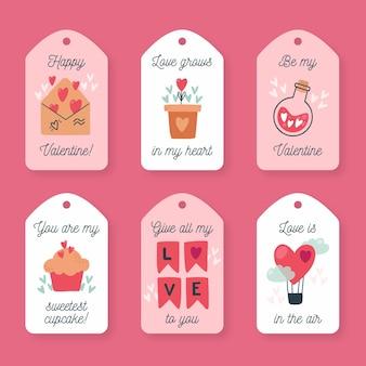Vintage valentinstag etiketten sammlung