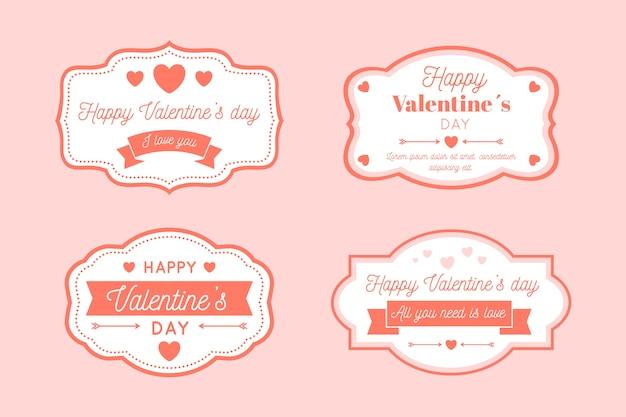 Vintage valentinstag label / abzeichen sammlung