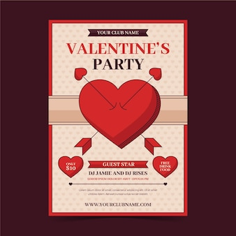 Vintage valentinstag party flyer vorlage