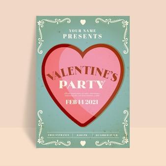 Vintage valentinstag party flyer vorlage