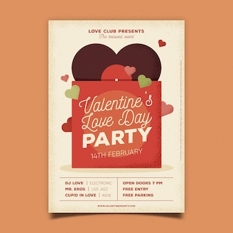 Vintage valentinstag party flyer