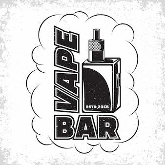 Vintage vape lounge logo design emblem von vape club oder haus