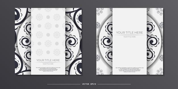 Vintage vector light color vorbereitung grußkarten mit abstrakten mustern. vorlage für print-design-einladungskarte mit mandala-ornament.