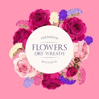 Vintage-vektorkarte mit lila und rosa rosen und bunten trockenblumen