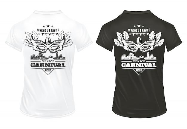Vintage venedig karneval druckt vorlage auf hemden