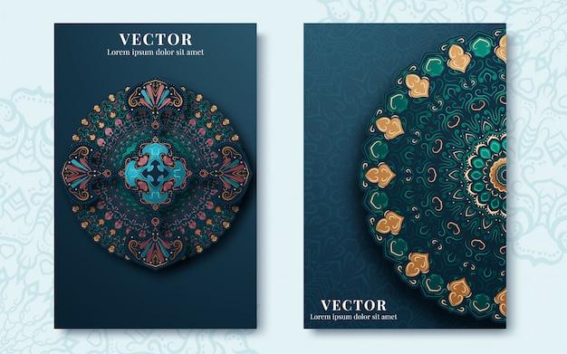 Vintage verzierten karten im orientalischen stil