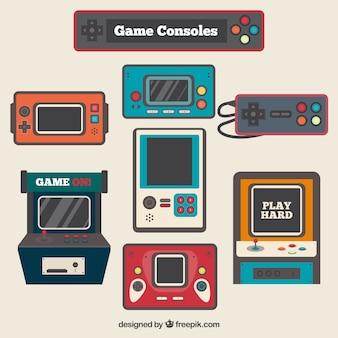 Vintage-videospielkonsolen in flaches design