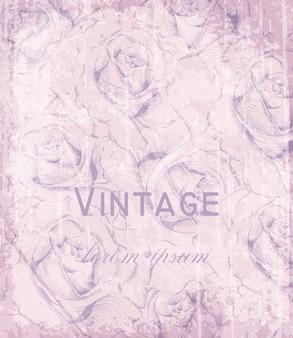 Vintage viktorianische karte mit gravierten rosen