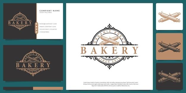 Vintage viktorianisches emblem logo bäckerei shop