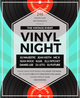 Vintage vinyl lp dj party poster. disco und sound, musikalische audioparty