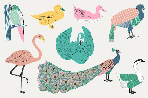 Vintage-vögel-schablonen-muster-set