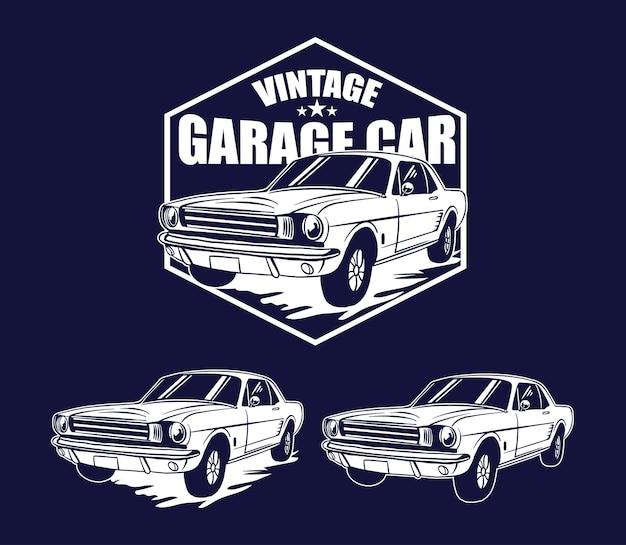 Vintage-vorlage logo garage auto