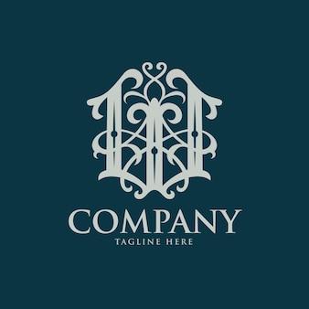 Vintage w brief monogramm vorlage logo