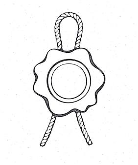Vintage wachssiegel mit juteseil umriss sicherheitsstempel mit bindfaden für post vector illustration