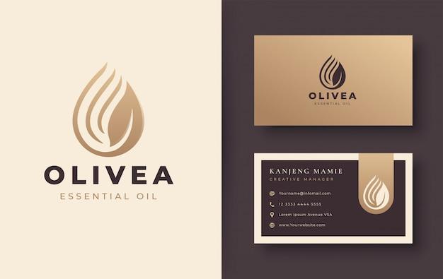 Vintage wassertropfen / olivenöl-logo und visitenkartenentwurf