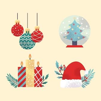Vintage weihnachten elementsammlung