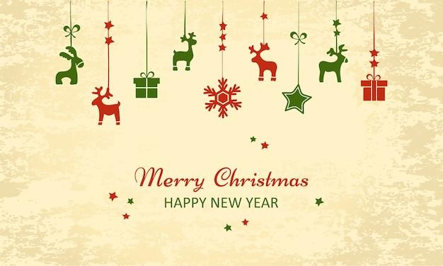Vintage weihnachts-neujahrsgrußkarte. hängende spielzeuge für den urlaub. illustration