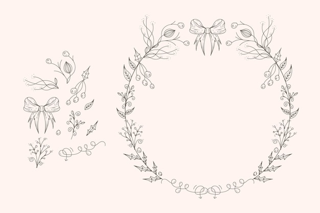 Vintage weihnachtsblumen- und kranzsammlung