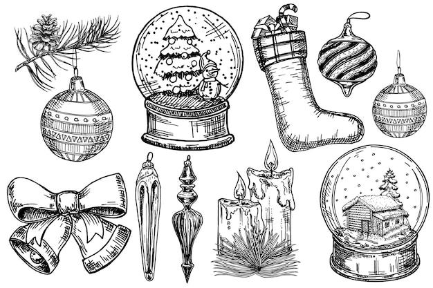 Vintage weihnachtsdekoration eingestellt. frohe weihnachten, frohes neues jahr skizzieren designelemente. oncept