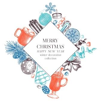 Vintage-weihnachtsfahnendesign in farbe handskizzierter feiertagshintergrund mit weihnachtsdekoration