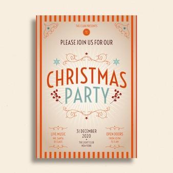 Vintage weihnachtsfeier flyer vorlage mit foto