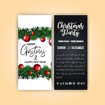 Vintage weihnachtsfeier flyer vorlage
