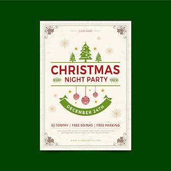 Vintage weihnachtsfeier plakat vorlage