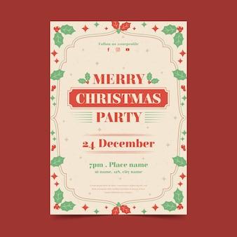 Vintage weihnachtsfeier poster vorlage