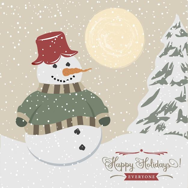 Vintage weihnachtskarte mit schneemann