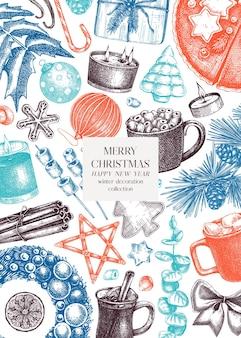 Vintage weihnachtskarte oder einladungsvorlage handsketcheddesign mit weihnachtsdekoration