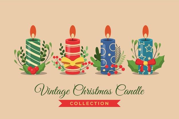 Vintage weihnachtskerzensammlung