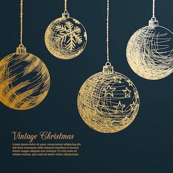 Vintage weihnachtskugeln gesetzt