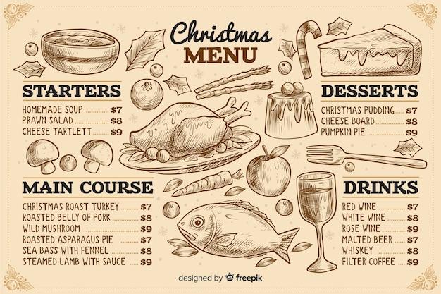 Vintage weihnachtsmenüvorlage