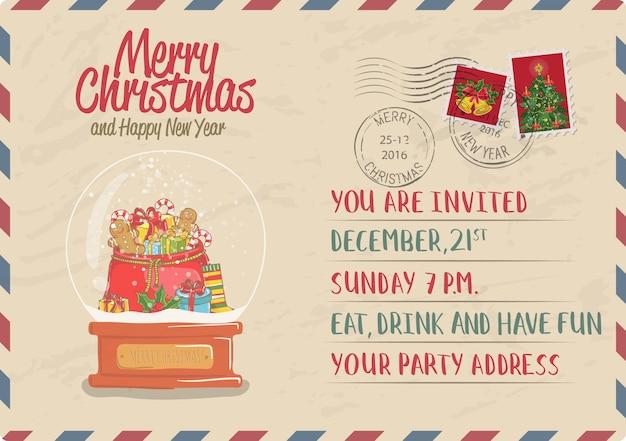 Vintage weihnachtspostkarte mit stempel und poststempel