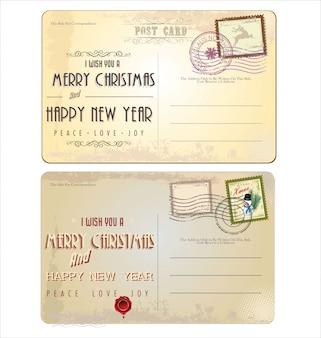 Vintage weihnachtspostkarte und briefmarken