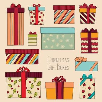 Vintage weihnachtsset mit geschenkboxen