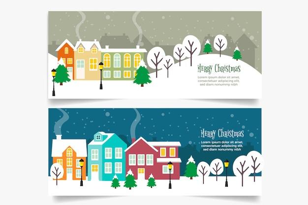 Vintage weihnachtsstadt banner vorlage