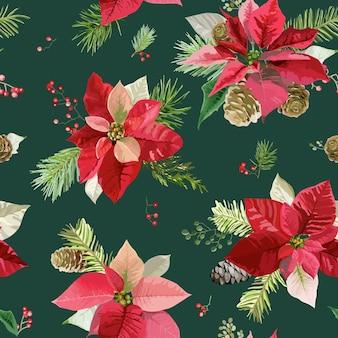 Vintage weihnachtsstern blumen hintergrund nahtlose weihnachtsmuster