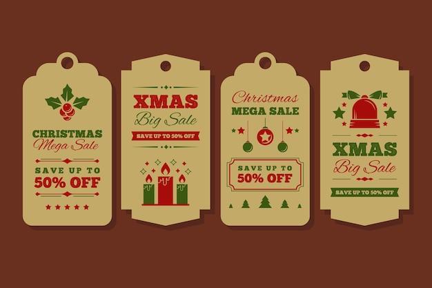 Vintage weihnachtsverkauf tag-sammlung