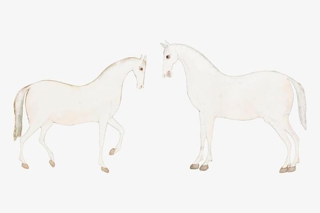 Vintage weiße asiatische pferde
