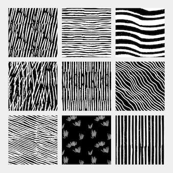 Vintage weißes schwarzes holzschnitt-streifen-hintergrund-set, remix von kunstwerken von samuel jessurun de mesquita