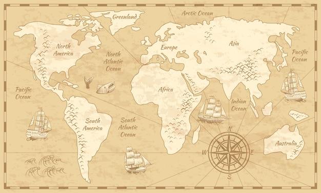 Vintage weltkarte. antike papierkarte der antike mit altem segelkugelhintergrund des kontinentsozeanmeeres