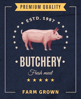 Vintage-werbeplakat der metzgerei frisches fleisch mit schwein und gestaltungselementen auf schwarzem hintergrund
