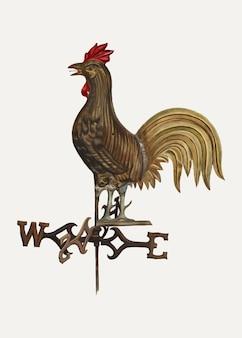 Vintage wetterhahn-illustrationsvektor, remixed aus dem artwork von florian rokita