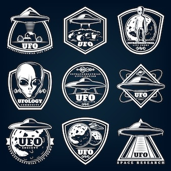 Vintage white ufology labels set