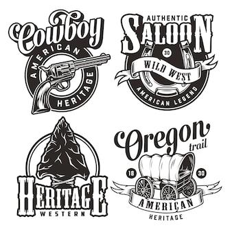 Vintage wild west abzeichen gesetzt