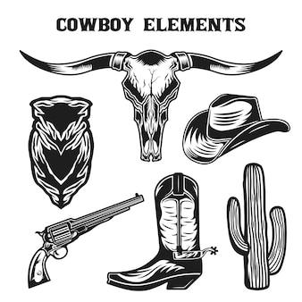 Vintage wild west cowboy elemente sammlung set