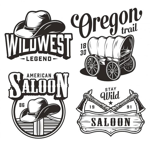 Vintage wild-west-embleme gesetzt